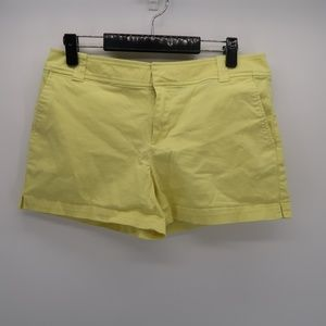 New York & Company Flat Front Yellow Shorts Size 8